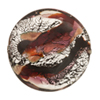 Fantasia Disc 28mm Black Base Silver Foil Ruby, Murano Glass Bead