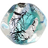 Murano Glass Bead Aqua, Black Silver Foil Pebble 15mm