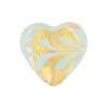 Pale Aqua Fenicio Heart 20mm Gold Foil Venetian Glass Bead