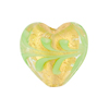 Opaque Green Fenicio Heart 20mm Gold Foil Venetian Glass Bead