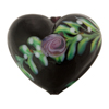 Murano Glass Black Heart Bead w/Pink Roses,25mm