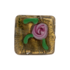 Olivine Gold Murano Glass Square Roses 20mm