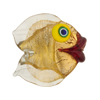 Clear Puffy Fish 24kt Gold Foil Yellow Eyes