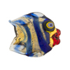 Cobalt/Black Puffy Fish 24kt Gold Foil Venetian Bead