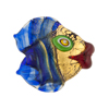 Cobalt/Green Puffy Fish 24kt Gold Foil Venetian Bead