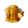 Topaz Puffy Fish 24kt Gold Foil Black Eyes
