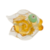 Topaz Clear Puffy Fish 24kt Gold Foil Aqua Eyes