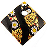 Murano Glass Pendant, Black Gold Flower Diagonal Millefiori, 30mm
