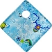 Fused Murano Glass Curved Diagonal Pendant 30mm Aqua with Silver Foil & Multi Millefiori