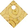 Fused Murano Glass Curved Diagonal Pendant 30mm Light Topaz Gold Scroll