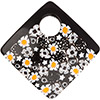 Murano Glass Curved Diagonal Pendant 62mm Yellow Daisies and Black