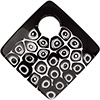 Murano Glass Curved Diagonal Pendant 62mm White Circles and Black
