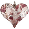 Fused Murano Glass Curved Heart 30mm Amethyst Frit over Silver Foil