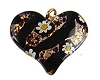 Fused Murano Glass Curved Heart 30mm Black Gold Red Millefiori