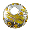 Murano Glass Curved Round Pendant 50mm Yellow Zanfirico and Millefiori