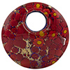 Curved Round Fused Murano Glass Pendant 50mm, Red Millefiori & Gold Foil