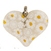 Fused Murano Glass Heart 25mm Flat, Yellow Daisy