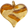 Fused Murano Glass Flat Heart Pendant 40mm Topaz Lines Gold Foil