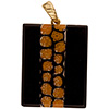Fused Murano Glass Pendant Black Red Flowers Stripe Rectangle 40mm