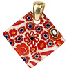 Fused Murano Glass Pendant Multi Reds Diamond