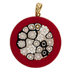 Fused Murano Glass Pendant Red Border White and Black Center Round 40mm