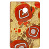 Fused Murano Glass Curved Rectangle Pendant 40mm Red White Circles and Gold Foil