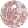 Fused Murano Glass Curved Round Pendant 40mm Pink White Lace Flowers