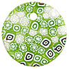 Fused Murano Glass Curved Round Pendant 40mm Peridot and White Lace Flowers