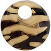 Fused Murano Glass Curved Round Pendant 40mm Topaz and Black Giglio