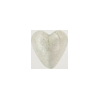 Clear Silver Foil Heart 13mm Venetian Beads