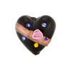 Black Fiorato Heart Diagonal Stripe 19mm Murano Glass Bead