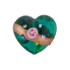 Marino Fiorato Heart Diagonal Stripe 19mm Murano Glass Bead
