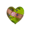 Peridot Fiorato Heart Diagonal Stripe 19mm Murano Glass Bead