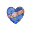 Blue Fiorato Heart Diagonal Stripe 19mm Murano Glass Bead