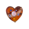 Topaz Fiorato Heart Diagonal Stripe 19mm Murano Glass Bead