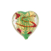 Green Red Incalmo Hearts Gold Splashes 19mm Venetian Bead