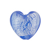 Light Blue Silver Foil Hearts 19mm Murano Glass Bead