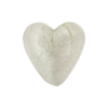 Clear White Gold Foil Heart 20mm Murano Glass Bead