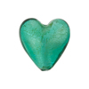 Marino White Gold Foil Heart 20mm Murano Glass Bead