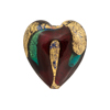 Aqua Ruby Heart 21mm Exterior Gold Foil Venetian Glass Bead
