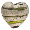 Peridot Striped Puffy Heart Metallic Exterior Silver Foil Venetian Bead