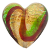 Red Green Swirl 24kt Gold Foil Large Heart 30mm Venetian Bead