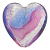 Pink and Blue White Gold Foil Swirl Heart 30mm Venetian Glass Bead