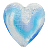 Blue and Aqua White Gold Foil Swirl Heart 30mm Venetian Glass Bead