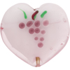 Light Amethyst Flat Incalmo Heart 32mm Decorated Murano Glass Bead