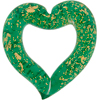 Emerald Gold Foil Open Heart Murano Glass Pendant