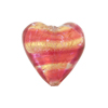 Rubino Striped Pink 24kt Gold Foil Murano Glass Heart Bead, 20mm