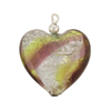 Murano Glass Bead, Green & Amethyst w/Silver Swirls, 21mm, Heart Shaped