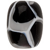 Black, White Honeycomb Oval Murano Glass Bead 16x12mm