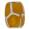 Topaz, White Honeycomb Oval Murano Glass Bead 16x12mm